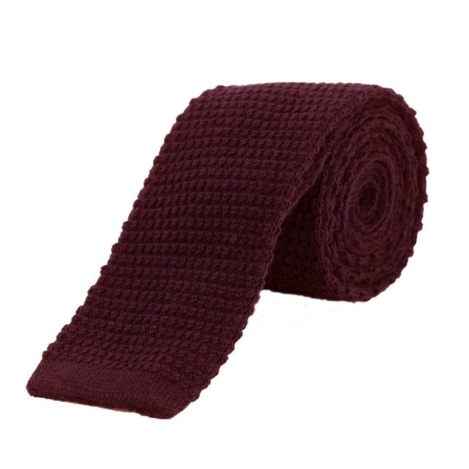Wool Knitted Tie - Wine