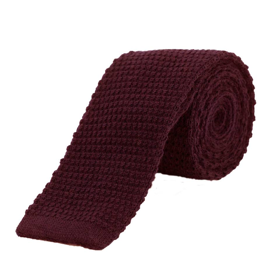 3241e207bf10 Wool Knitted Tie - Wine - Oliver Brown