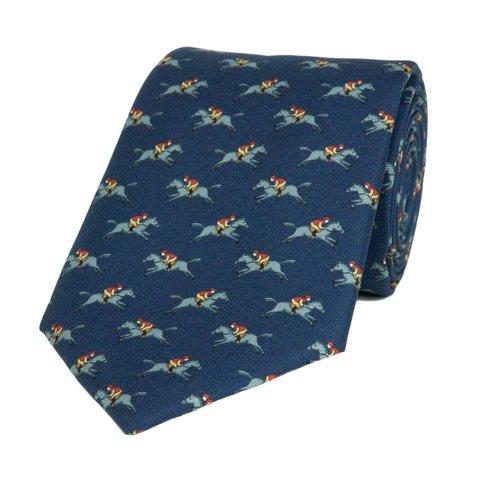 Royal Ascot Fine Tie, 2018 - Navy Jockey and Horse