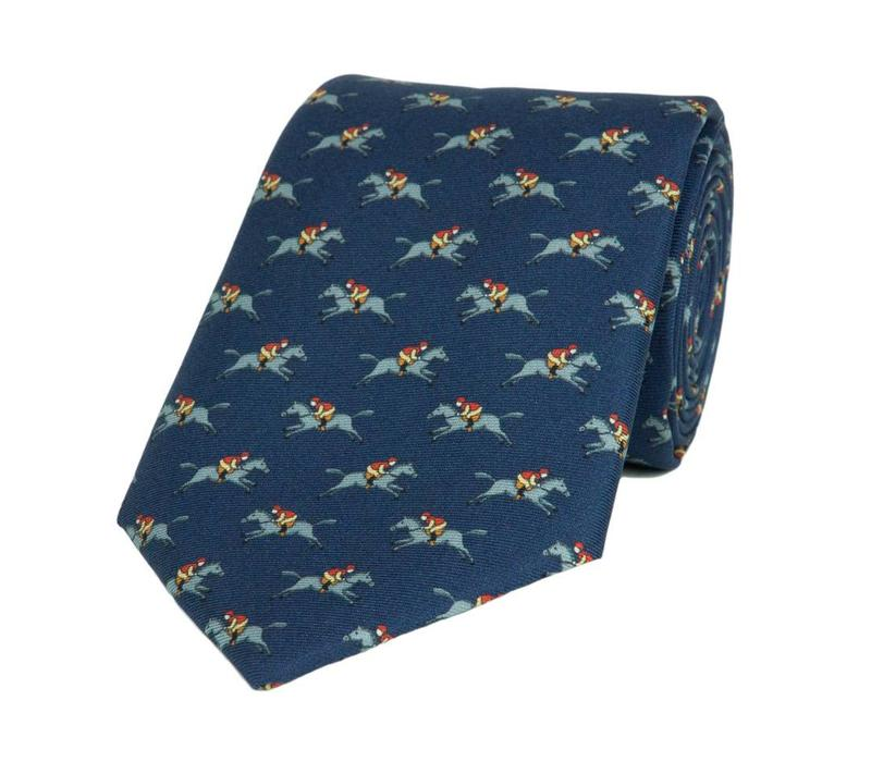 Royal Ascot Fine Tie, 2018 - Navy Jockey and Horse