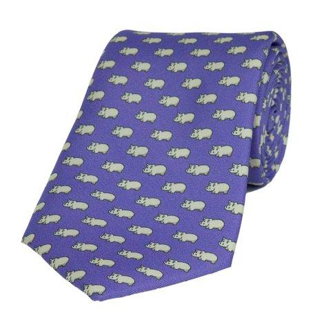 Fine Silk Tie, Hippo - Purple