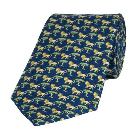 Fine Silk Tie, Lion - Navy