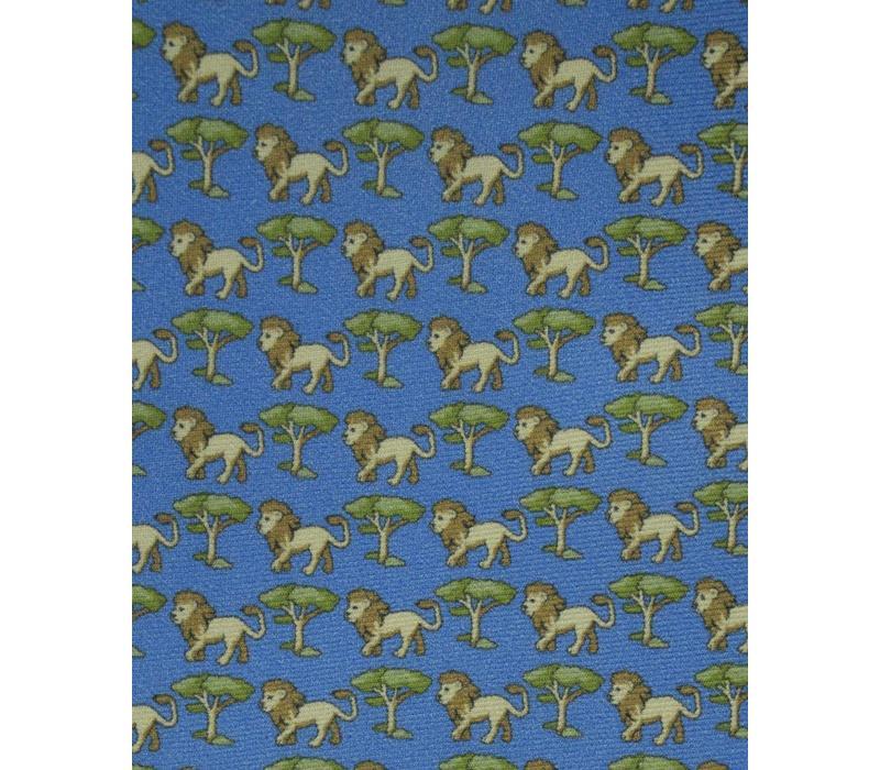 Fine Silk Tie, Lion - Blue