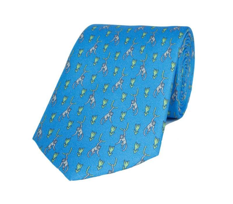 Fine Silk Tie, Monkey - Light Blue/Green