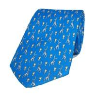 Fine Silk Tie, Monkey - Blue/Yellow
