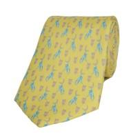 Fine Silk Tie, Monkey - Yellow