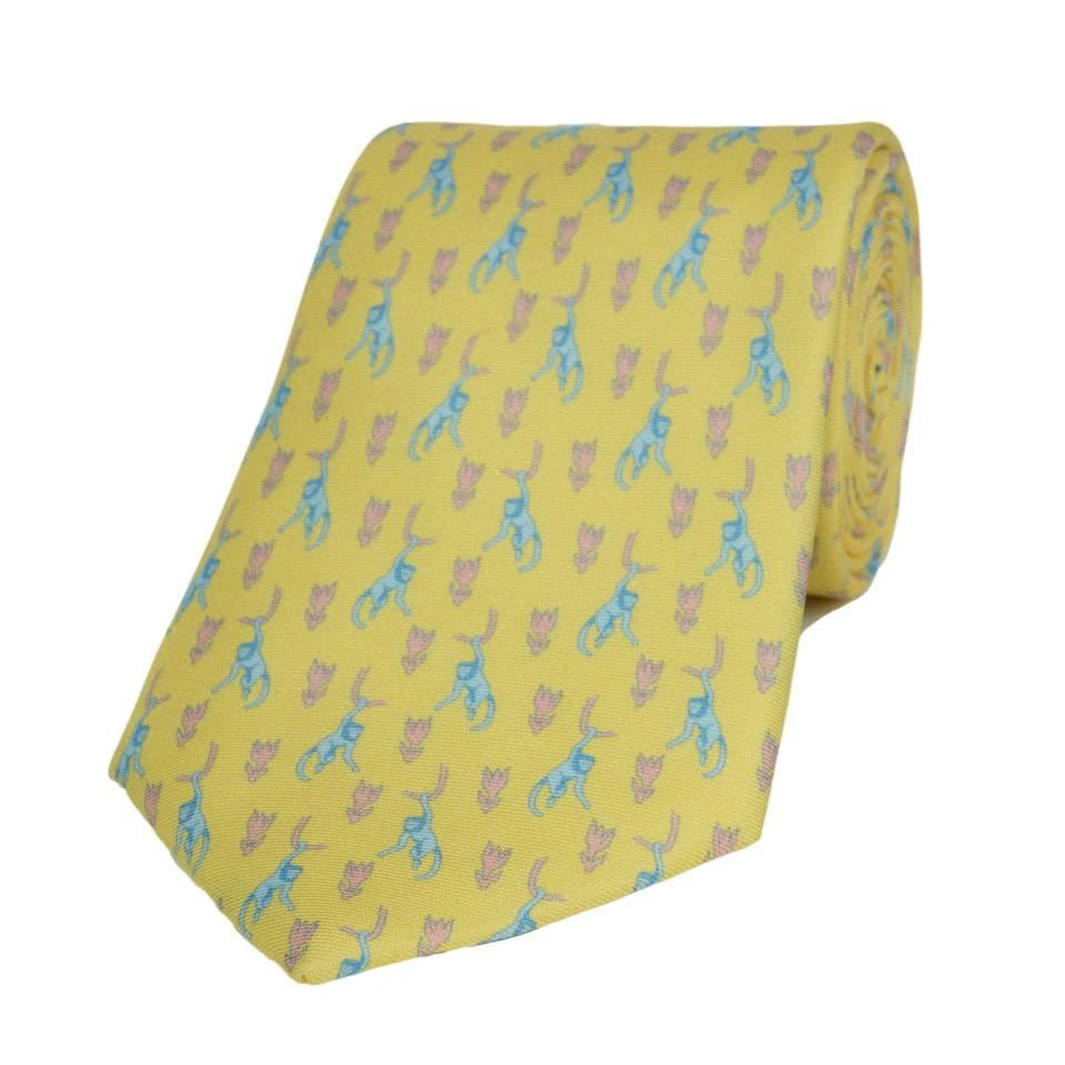 Silk Tie, Monkey - Yellow/Pink