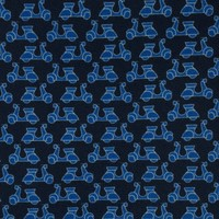 Fine Silk Tie, Vespa - Navy