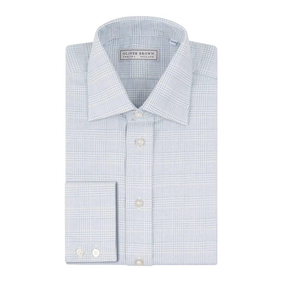 Cashmere Blend Country Shirt, Prince of Wales - Sky Blue