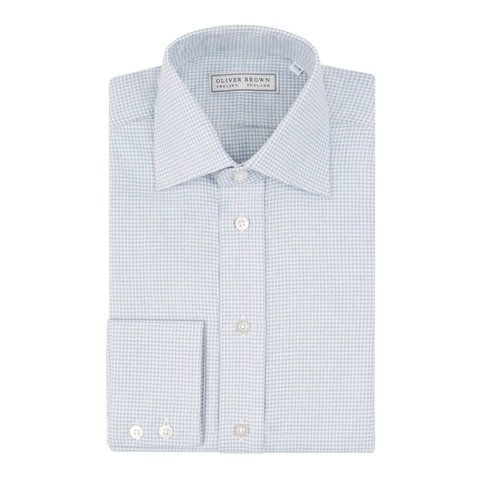 Cashmere Blend country Shirt Houndstooth - Sky Blue