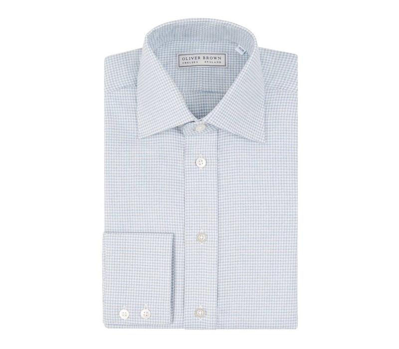 Cashmere Blend country Shirt Houndstooth - Sky Blue