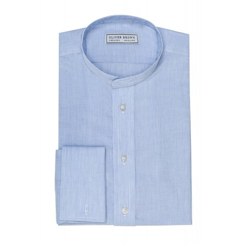 Collarless Shirt - Blue