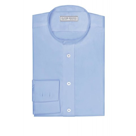 Collarless Shirt - Mid Blue