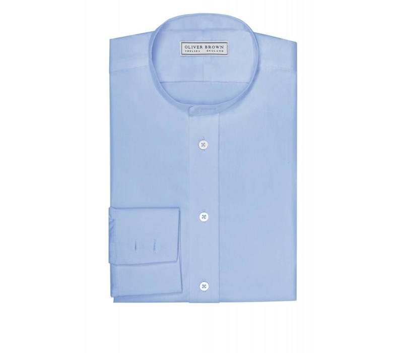 Collarless Shirt - Mid Blue