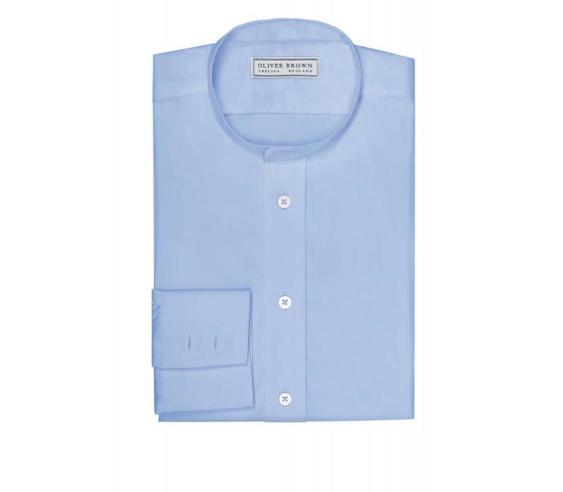 Extra Slim Collarless Shirt - Mid Blue