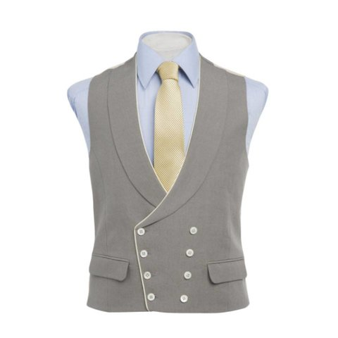 Double Breasted Linen Waistcoat, with Piping - Grey