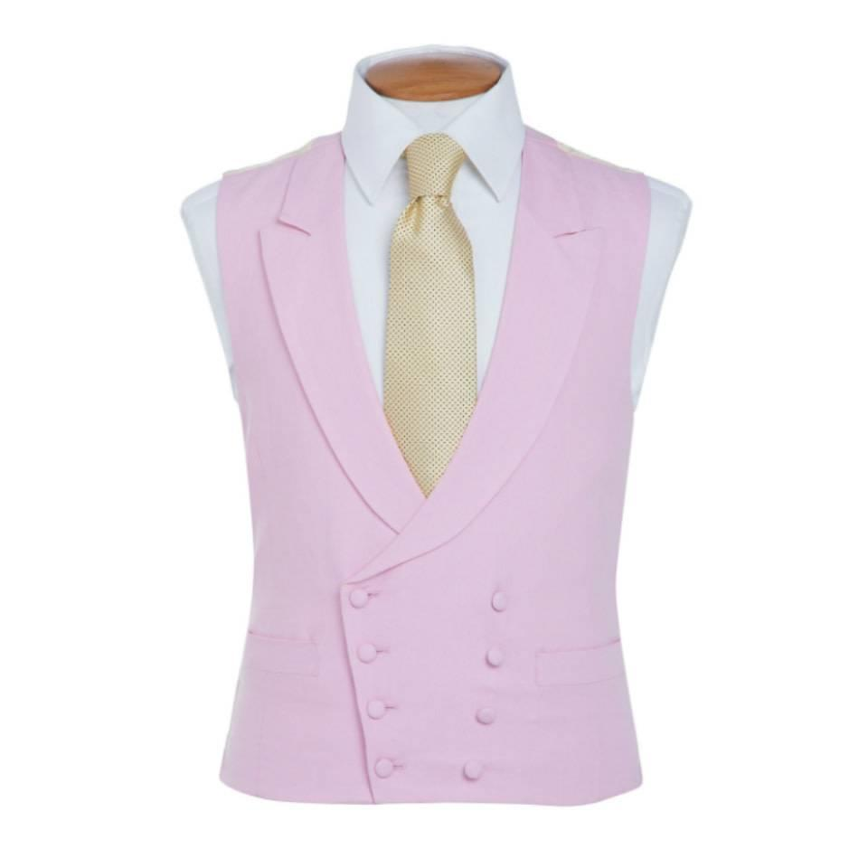 Double Breasted Linen Waistcoat - Pink