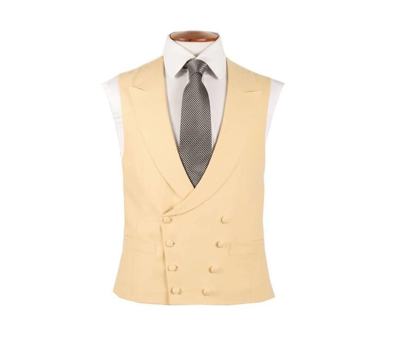 Double Breasted Linen Waistcoat - Yellow