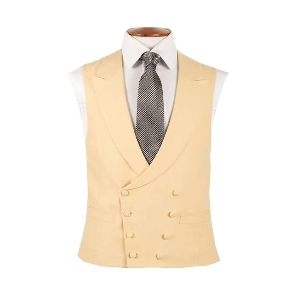Double Breasted Linen Waistcoat - Yellow