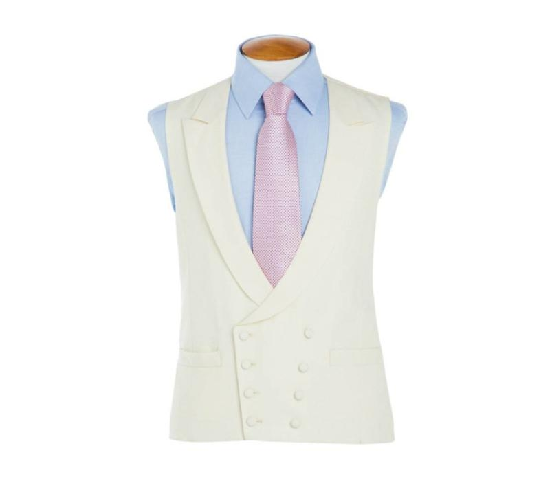 Double Breasted Wool Waistcoat - Cream