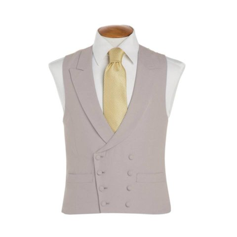 Double Breasted Wool Waistcoat - Grey