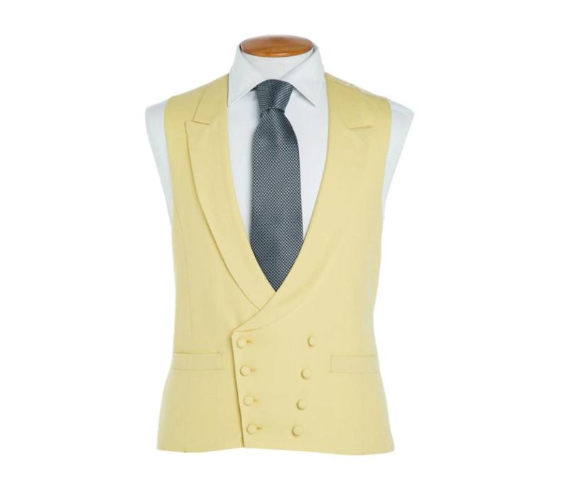 Double Breasted Wool Waistcoat - Yellow