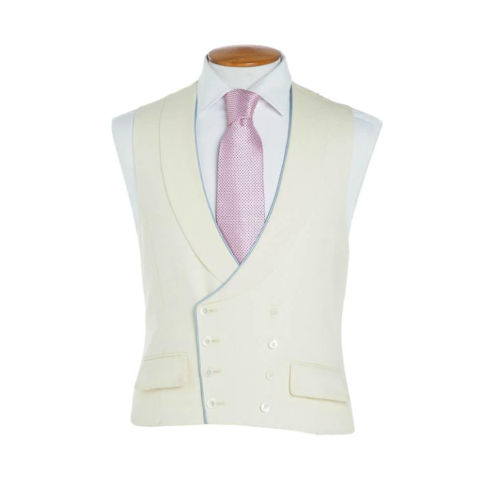 Double Breasted Wool Waistcoat, with Piping - Cream