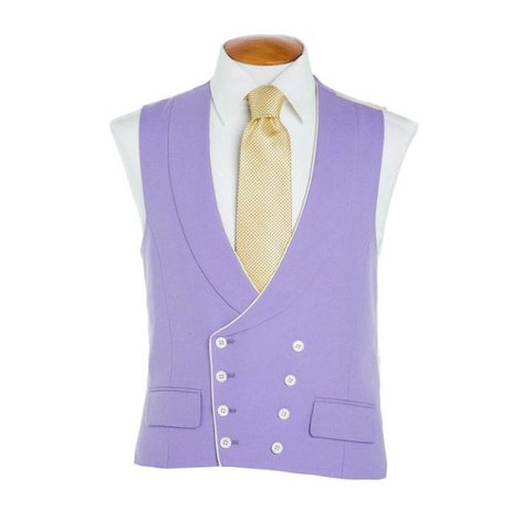 Double Breasted Wool Waistcoat with Piping- Mauve