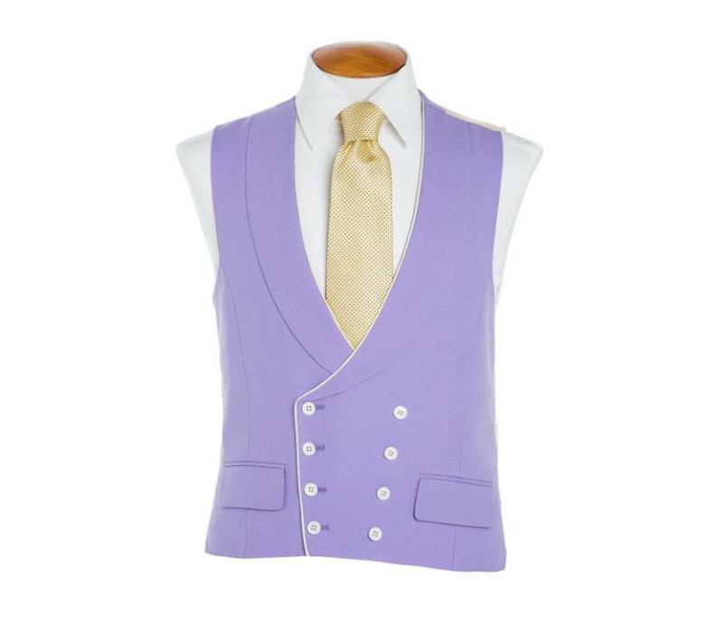 Double Breasted Wool Waistcoat, with Piping - Mauve