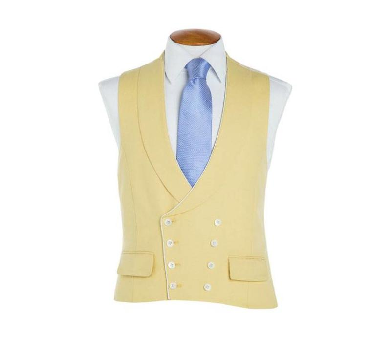 Double Breasted Wool Waistcoat, with Piping - Yellow