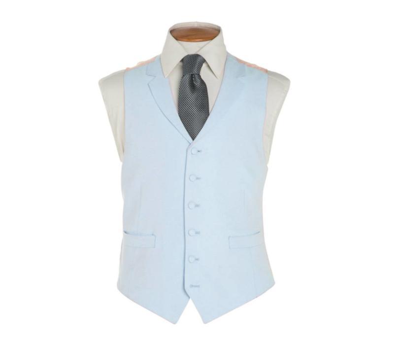 Single Breasted Linen Waistcoat - Pale Blue