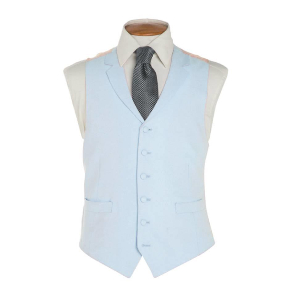Single Breasted Linen Waistcoat - Pale Blue
