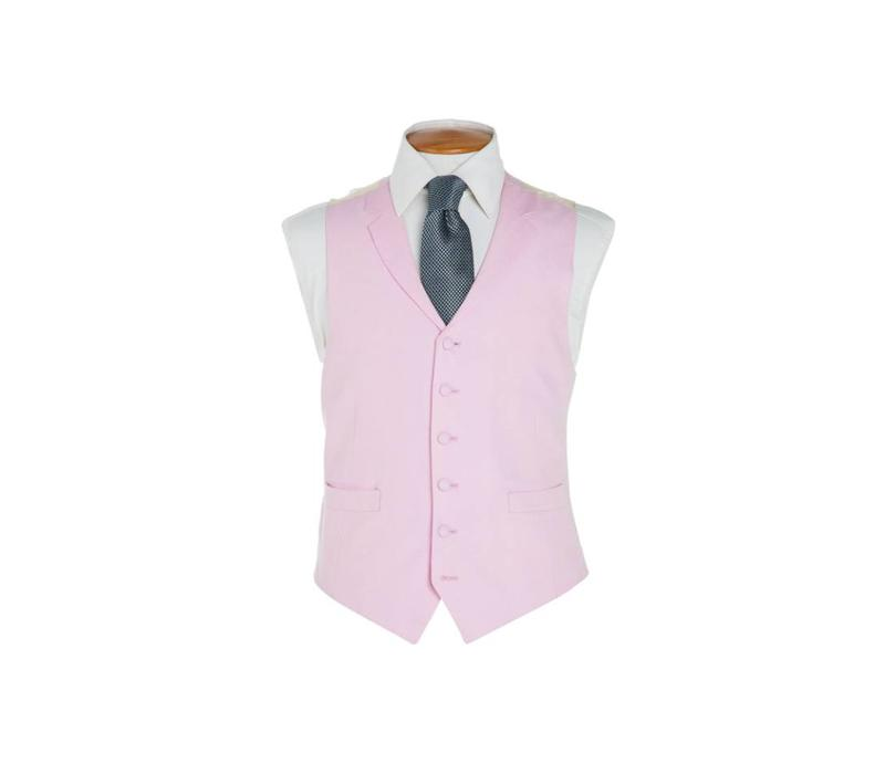 Single Breasted Linen Waistcoat - Pink