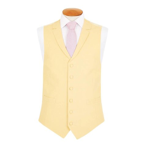 Single Breasted Linen Waistcoat - Yellow