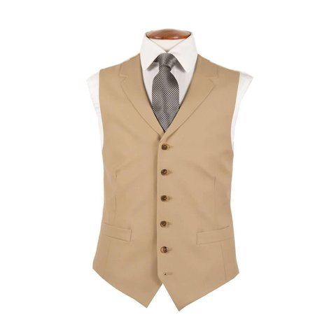 Single Breasted Wool Waistcoat - Buff