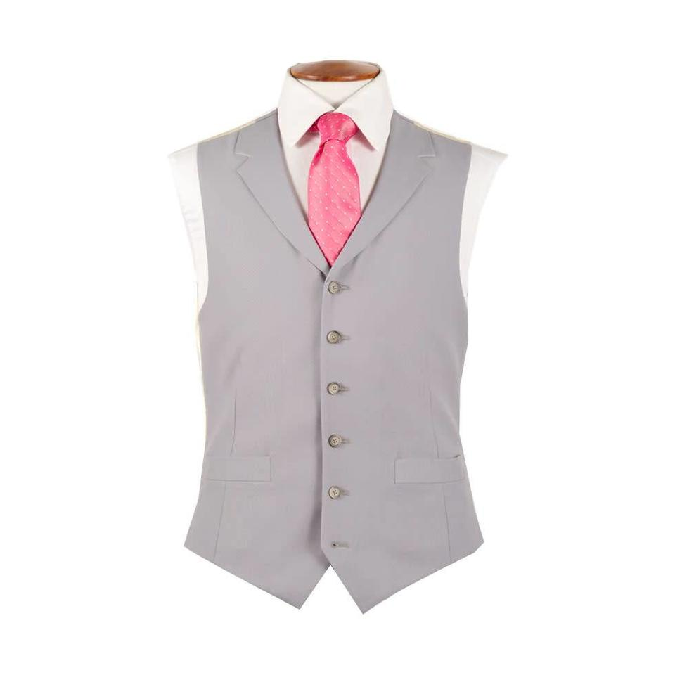 Single Breasted Wool Waistcoat - Grey