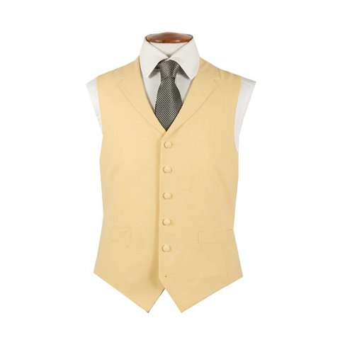 Single Breasted Wool Waistcoat - Yellow