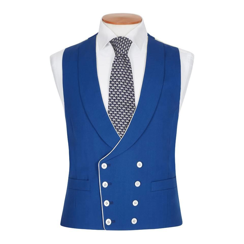 Double Breasted Wool Waistcoat - Royal Blue