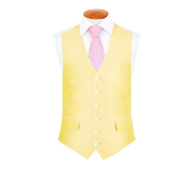Single Breasted Silk Waistcoat with Piping - Yellow