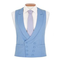 Double Breasted Wool Waistcoat - Mid Blue