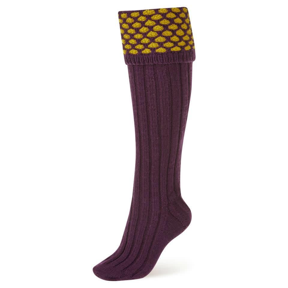 Handmade Shooting Socks - Purple and Yellow