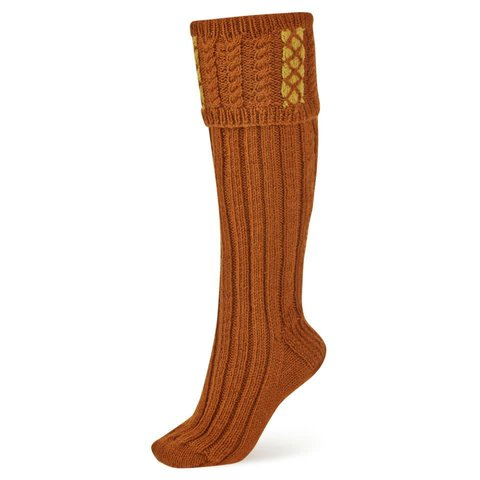 Handmade Shooting Socks - Rust and Mustard