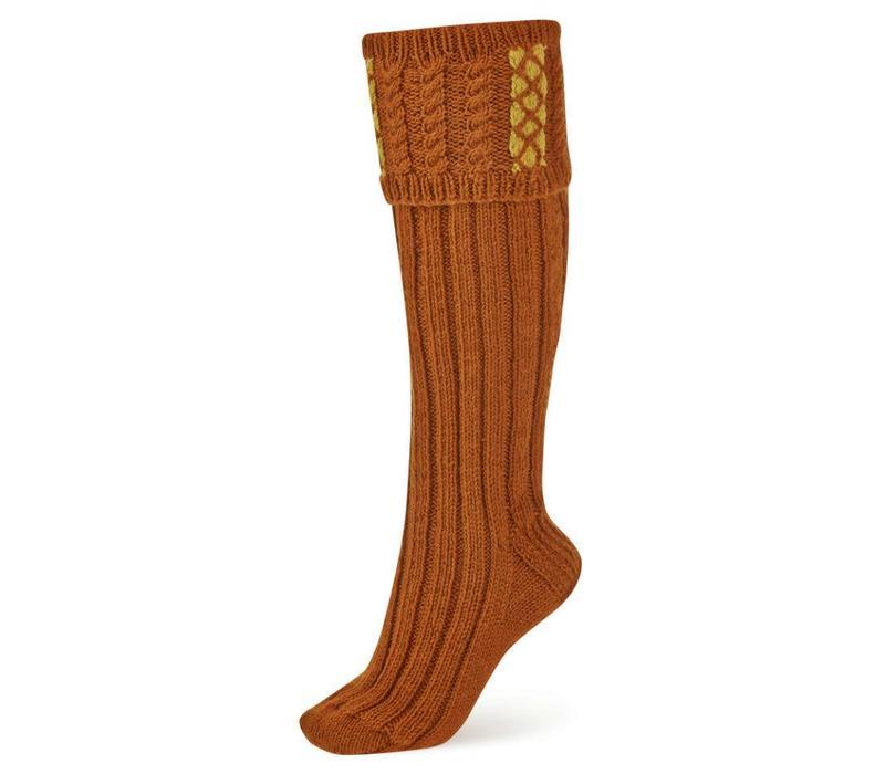 Handmade Shooting Socks - Rust and Mustard