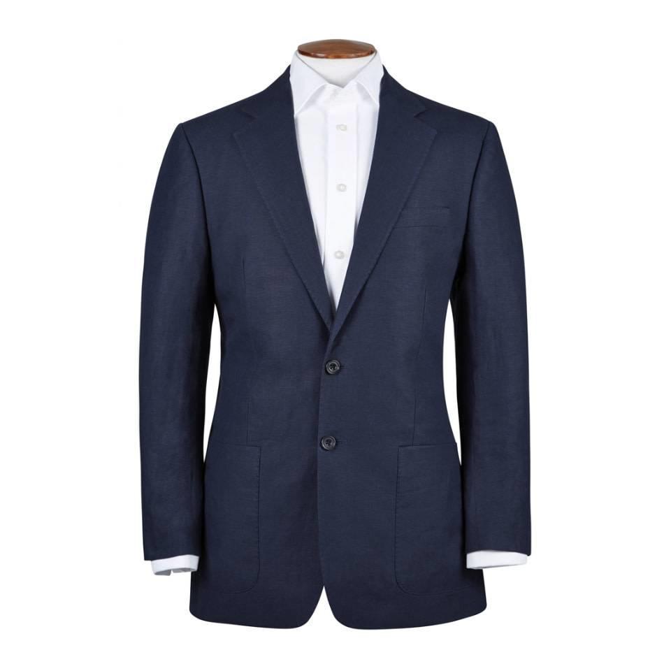 Un-lined Linen Jacket - Navy