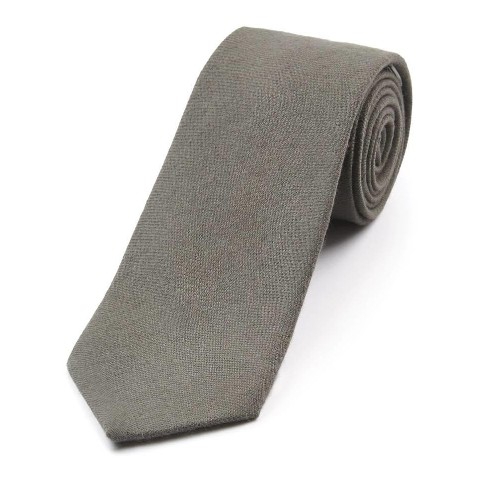 Wool Shooting Tie, Plain - Grey