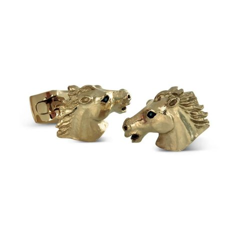 Gold Plate Cufflinks, Horse head