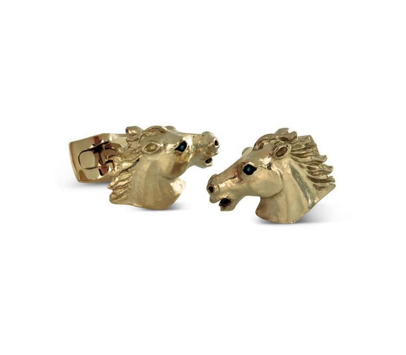 Gold Plate Cufflinks, Horse head
