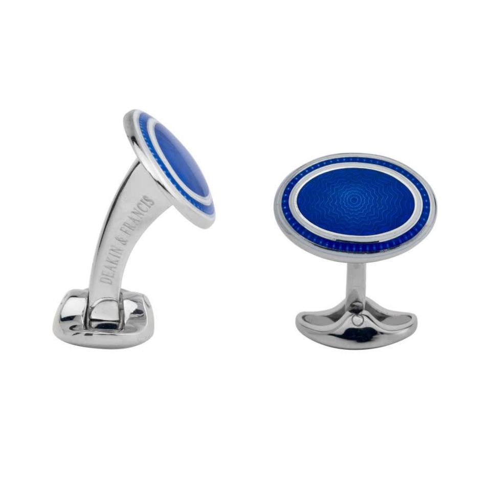 Domed Enamel and Silver Cufflinks, Royal Blue