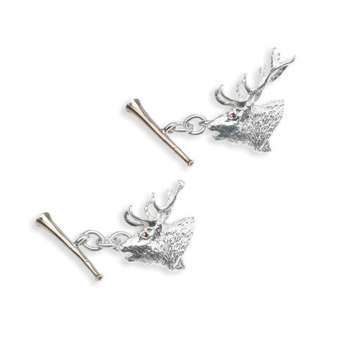 Solid Silver Field Sports Cufflinks, Roaring Stag & Hunting Horn