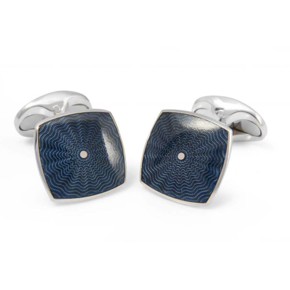 Sterling Silver Deep Blue Enamel Cufflinks